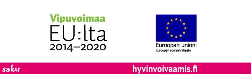 Vipuvoimaa EU:lta 2014-2020 -tunnus, Euroopan sosiaalirahasto -tunnus, nettisivuosoite hyvinvoivaamis.fi